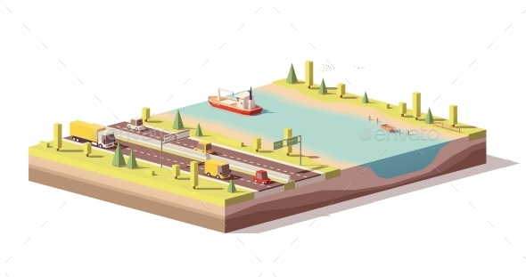 Vector Low Poly Landscape with Highway and River - Man-made Objects Objects