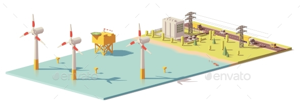 Vector Low Poly Wind Turbines Power Plant - Man-made Objects Objects