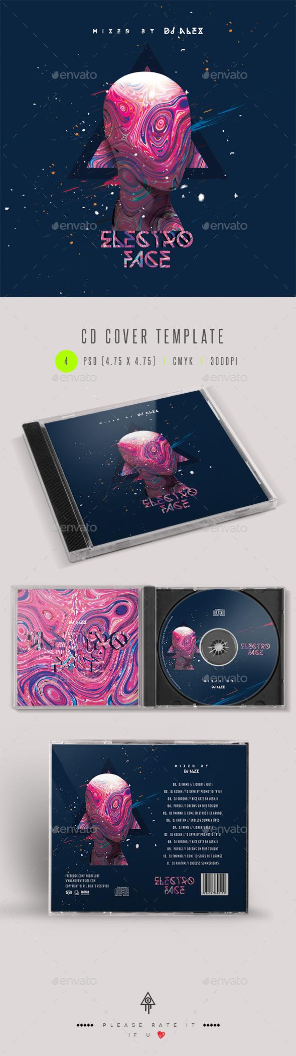 Electro Face - CD DVD Cover Artwork - CD & DVD Artwork Print Templates
