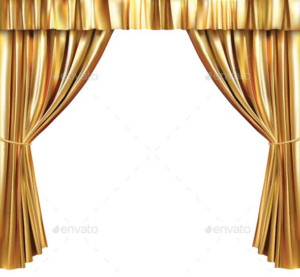 Background With Gold Curtain