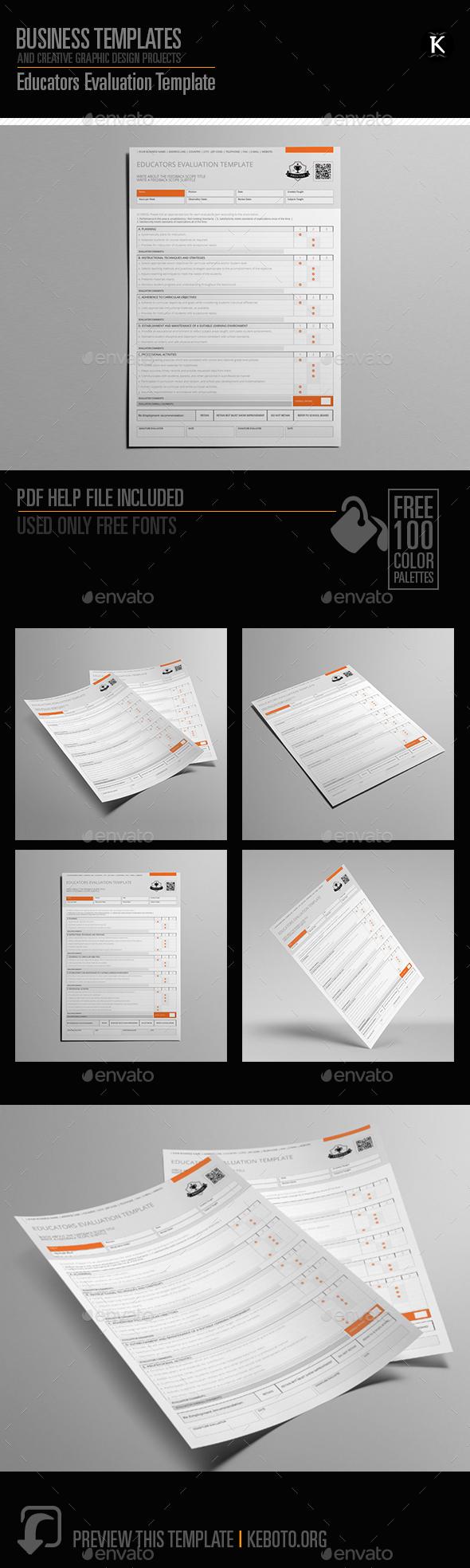 Educators Evaluation Template - Miscellaneous Print Templates