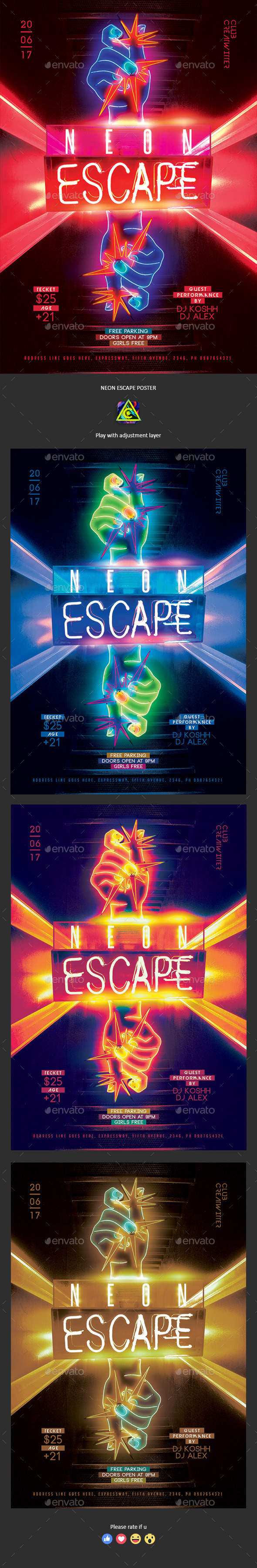 Neon Escape Poster / Flyer - Clubs & Parties Events