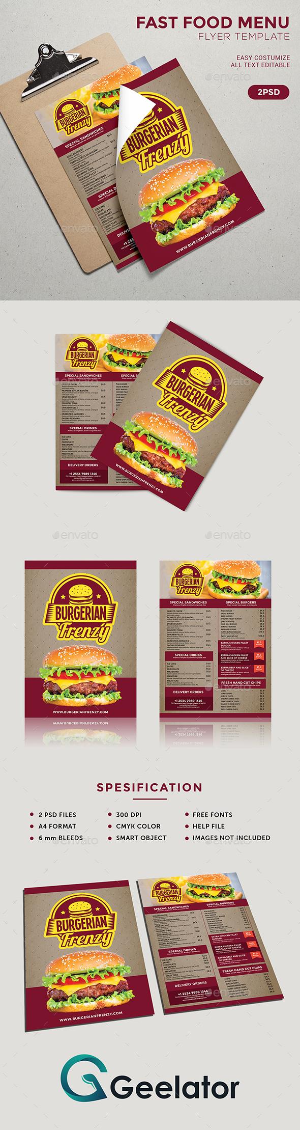 Fast Food Menu Flyer Template - Food Menus Print Templates