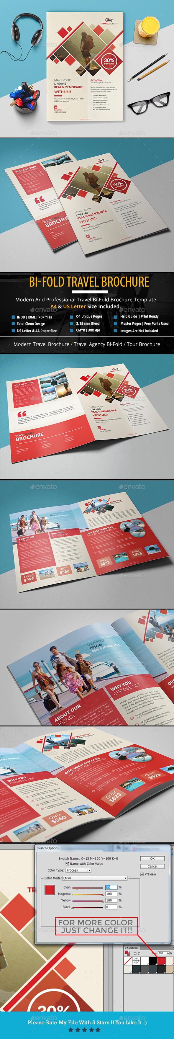 Bi-Fold Travel Brochure - Brochures Print Templates