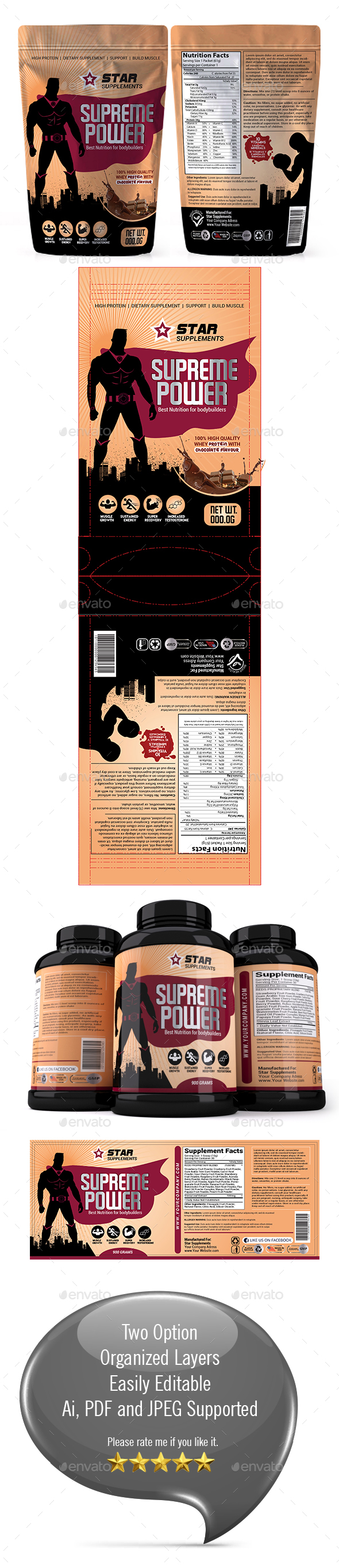 Supplement Packaging Template 02 - Packaging Print Templates