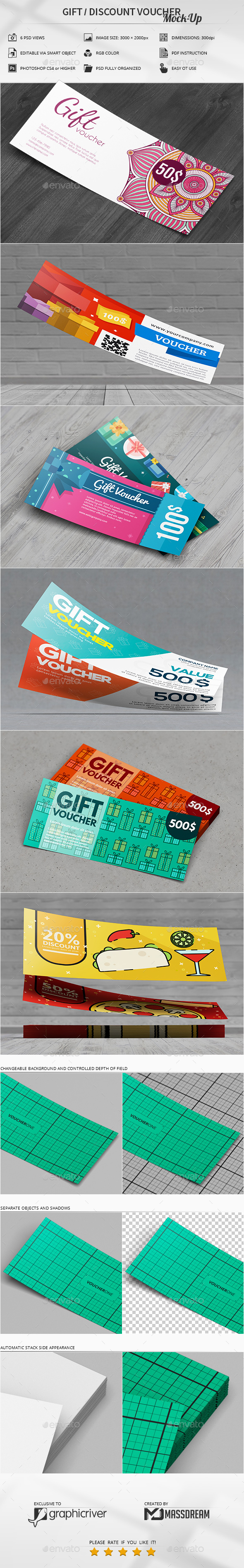 Gift / Discount Voucher Mock-Up - Product Mock-Ups Graphics