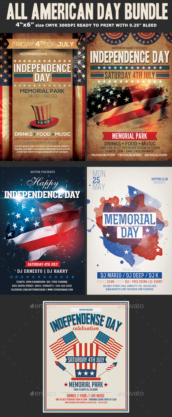 American Day Flyer Template Bundle - Holidays Events