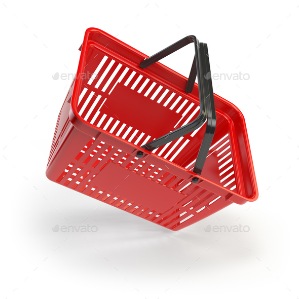 Empty shopping basket isolated on white background - Stock Photo - Images