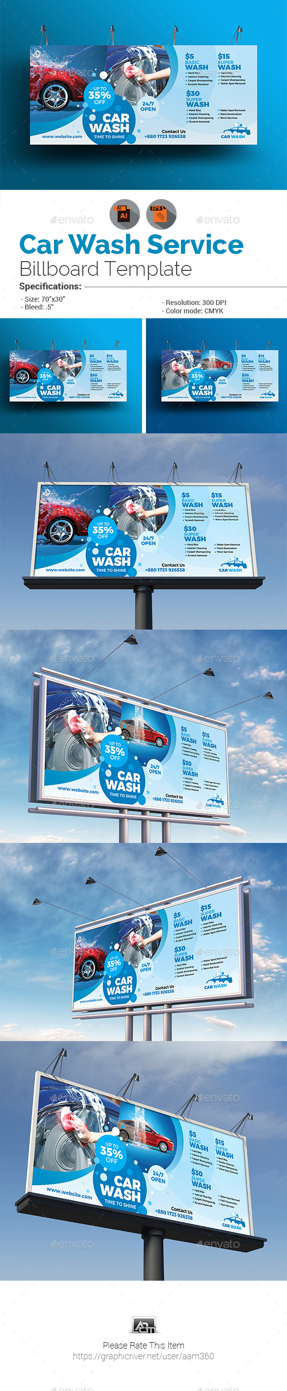Car Wash Billboard Template - Signage Print Templates