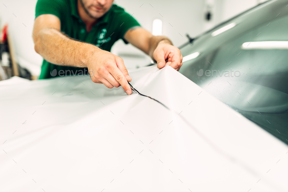 Car paint protection, protect coating installation - Stock Photo - Images