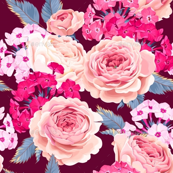 Seamless Pattern with Phloxes and Roses - Flowers & Plants Nature