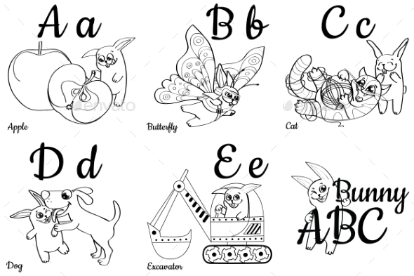 GraphicRiver Colorless Alphabet Letters for Kids Coloring Book 20546716