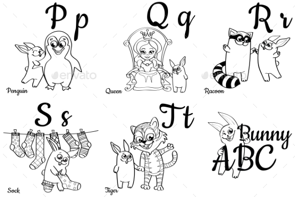 GraphicRiver Colorless Alphabet Letters for Kids Coloring Book 20546718