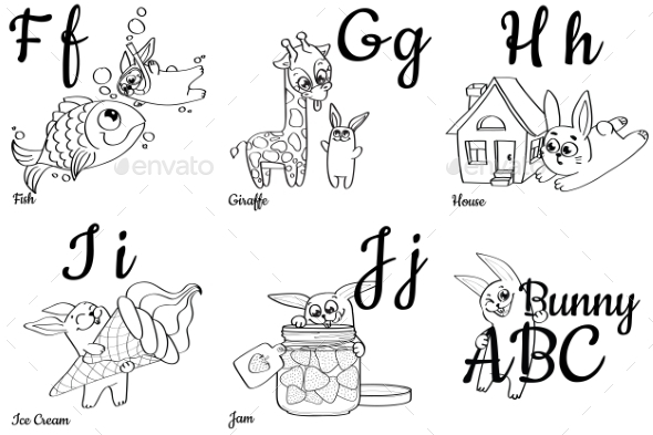 GraphicRiver Colorless Alphabet Letters for Kids Coloring Book 20546720
