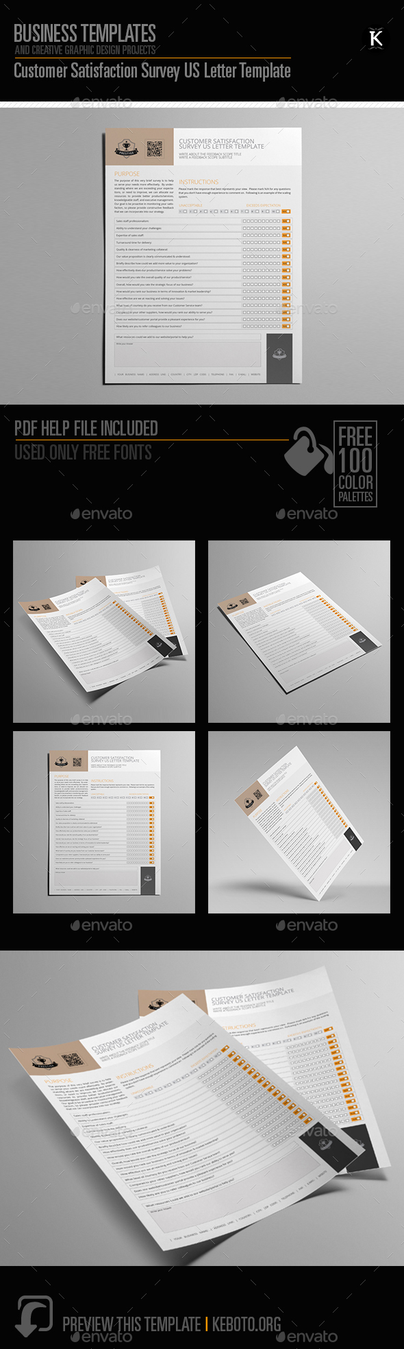 Customer Satisfaction Survey US Letter Template - Miscellaneous Print Templates