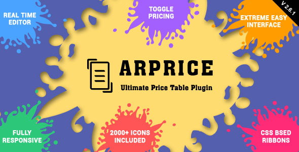 ARPrice - Responsive Pricing Table Plugin for WordPress - CodeCanyon Item for Sale
