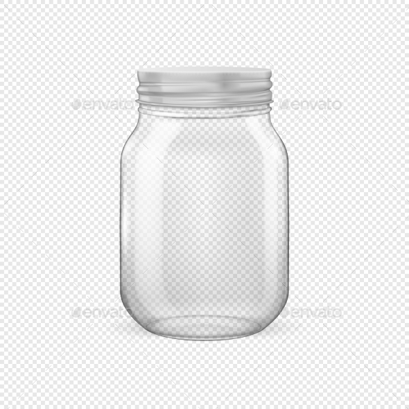 Vector Realistic Empty Glass Jar for Canning - Food Objects