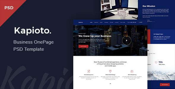 Kapioto – Business & Corporate OnePage PSD Template