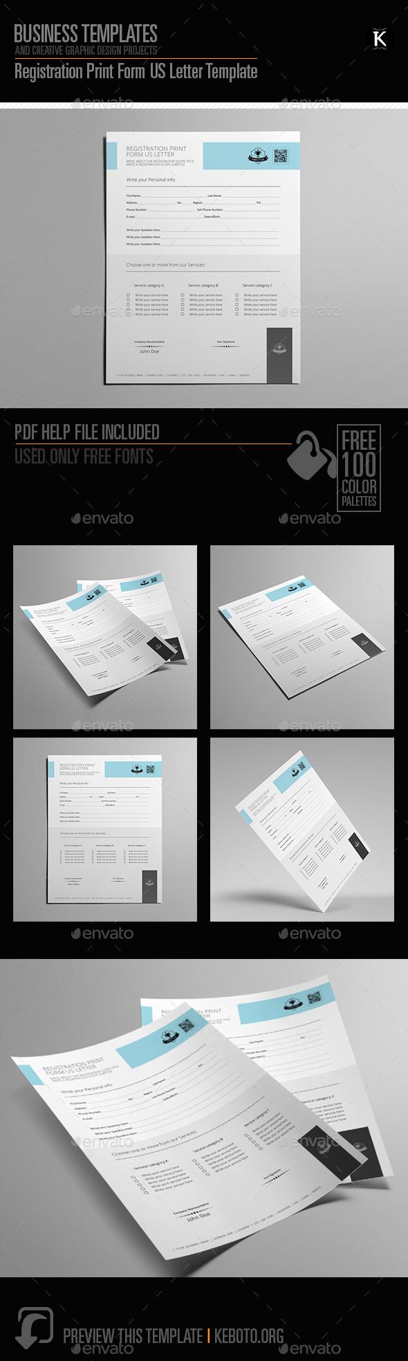 Registration Print Form US Letter Template - Miscellaneous Print Templates