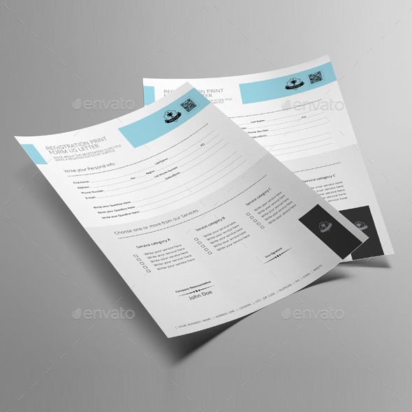 Registration Print Form US Letter Template