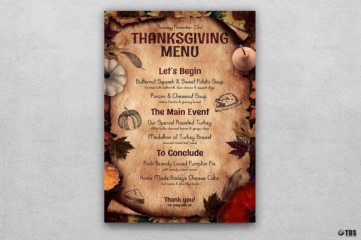 thanksgiving menu template v2 by lou606