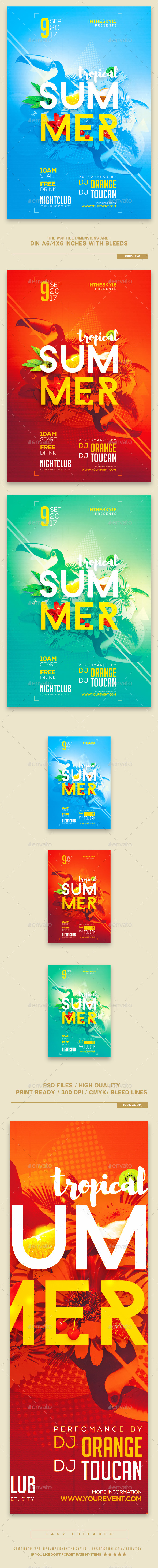 Tropical Summer Flyer Template - Print Templates