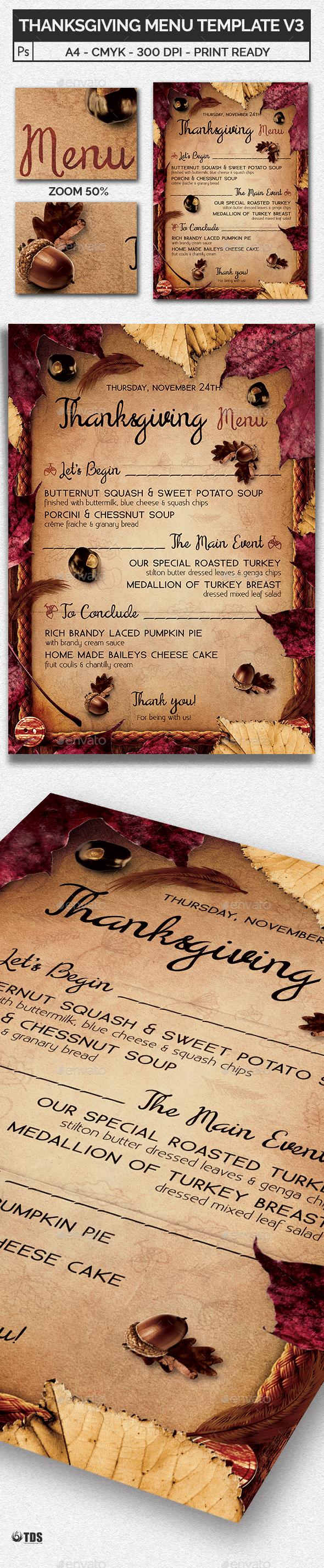 thanksgiving menu template v3 by lou606