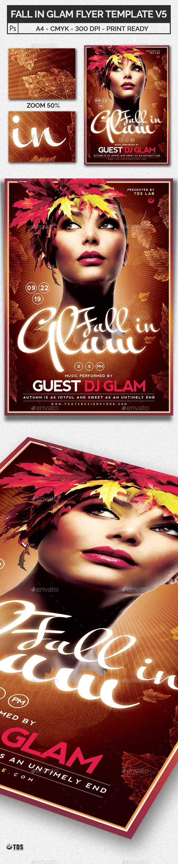 Fall in Glam Flyer Template V5 - Clubs & Parties Events