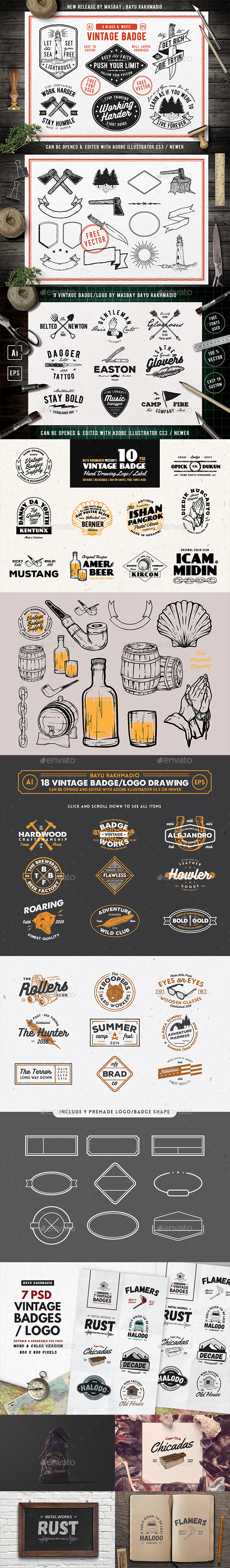 50 Vintage Badges Bundle - Badges & Stickers Web Elements