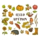 Hello Autumn Poster with Isolated Thematic