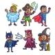 Cheerful Children in Creative Halloween Costumes