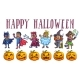 Happy Halloween Poster with Kids in Costumes and Pumpkins