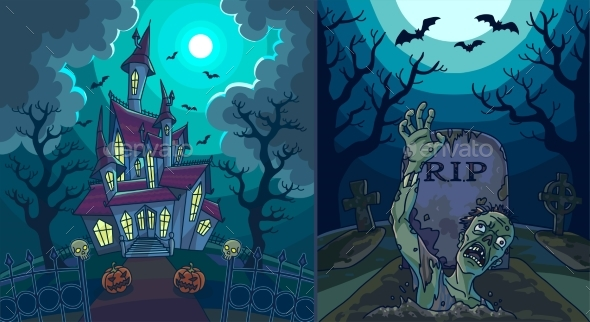 Scary Landscapes with Old House and Zombie - Halloween Seasons/Holidays