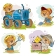 Set of Vector Illustrations of Teddy Bears Tractor