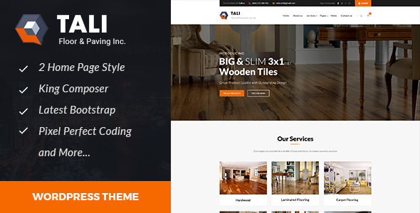 Tali :Paving Service WordPress theme - Business Corporate