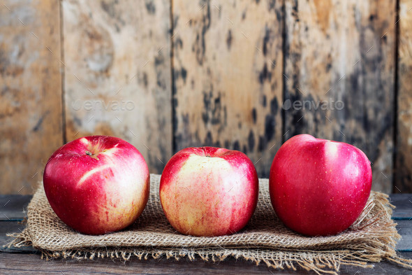 Apples fresh on the old wooden - Stock Photo - Images