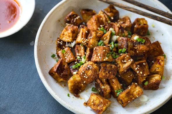 Glazed Tofu with Honey ,Soy sauce,Ginger and Chili sauce ...