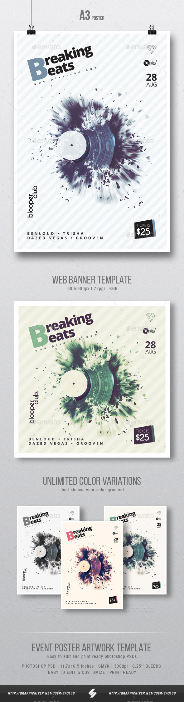 Breaking Beats - Minimal Party Flyer / Poster Template A3 - Clubs & Parties Events