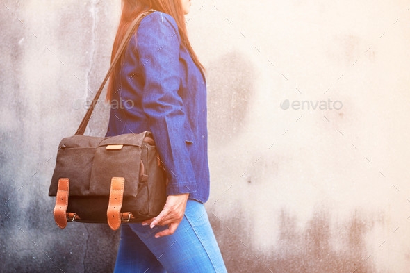 fashion of jeans and handbags - Stock Photo - Images