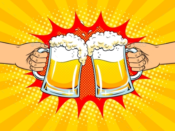 GraphicRiver Hands with Mugs of Beer Pop Art Vector 20548053