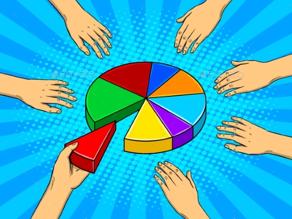 Hands Taking Pieces of Pie Chart Vector - Miscellaneous Conceptual