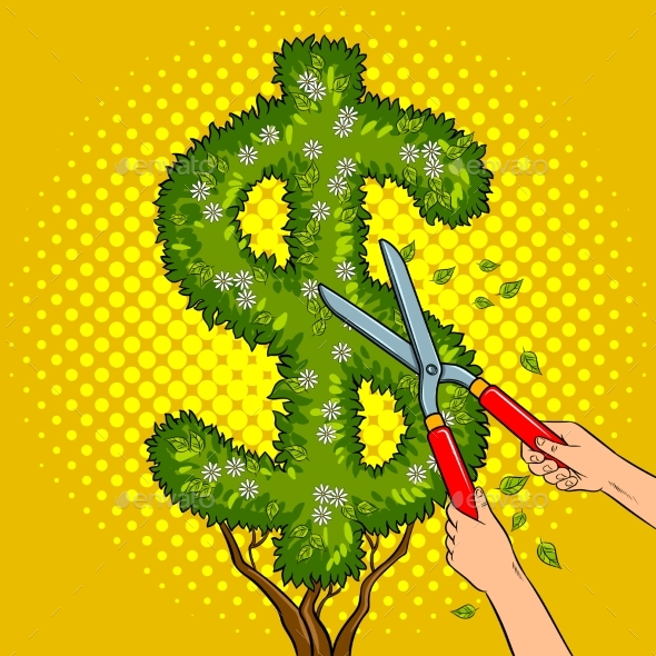 GraphicRiver Bush in the Form of Dollar Sign Pop Art Vector 20548061