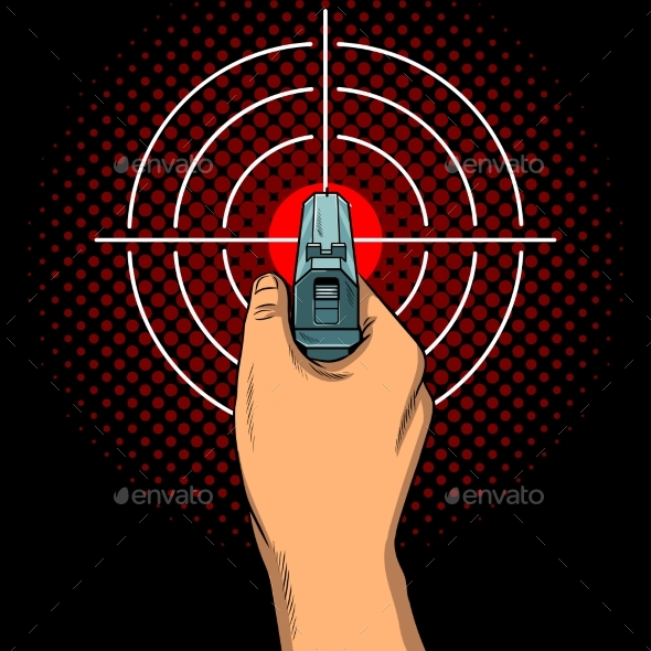 Hand with the Gun and Aim Pop Art Vector - Miscellaneous Vectors