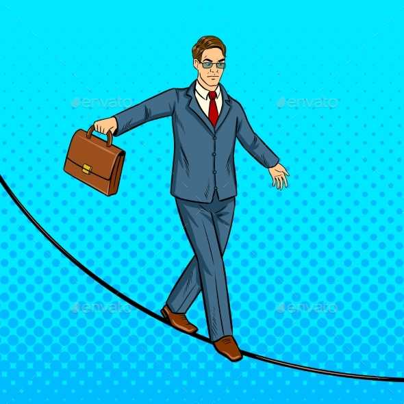 Businessman Balancing on Rope Pop Art Vector - People Characters