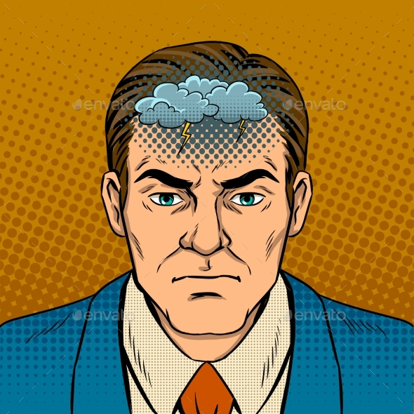 Guy with Bad Mood Pop Art Vector Illustration - People Characters