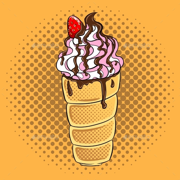 Trdelnik Spit Cake Pop Art Vector Illustration - Food Objects