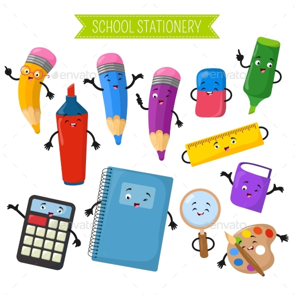 Cartoon 3d Vector Characters of School Writing - Man-made Objects Objects