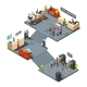 Commercial Bank Office 3d Isometric Interior