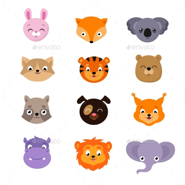 GraphicRiver Baby Animal Faces Vector Set 20548283