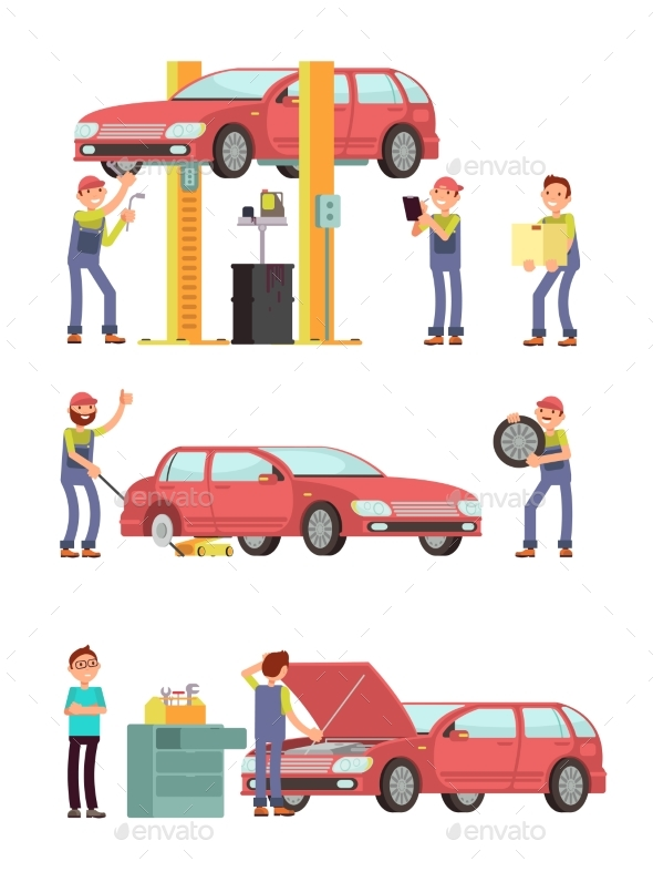 Car Repair Auto Service with Mechanic Characters - Services Commercial / Shopping